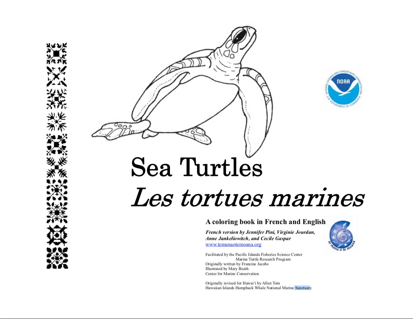 Livre De Coloriage Tortue De Mer Big Blue Network